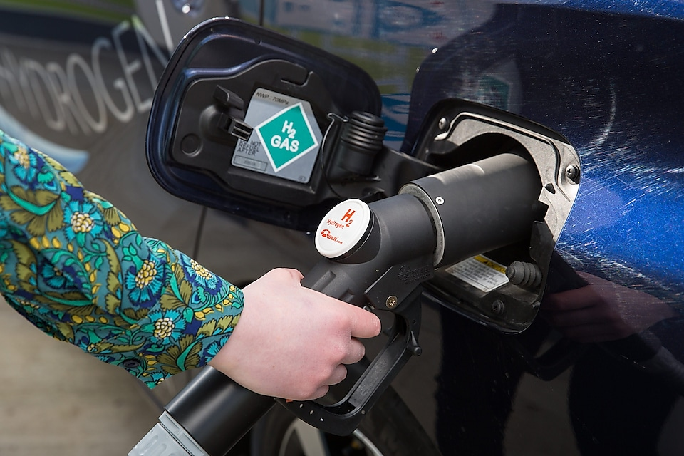 Hydrogen Car Refuelling At Shell Station - Sustainable Transport