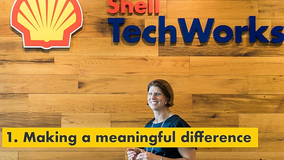 Reason number one – making a meaningful difference. Julie Ferland in front of a Shell TechWorks sign.