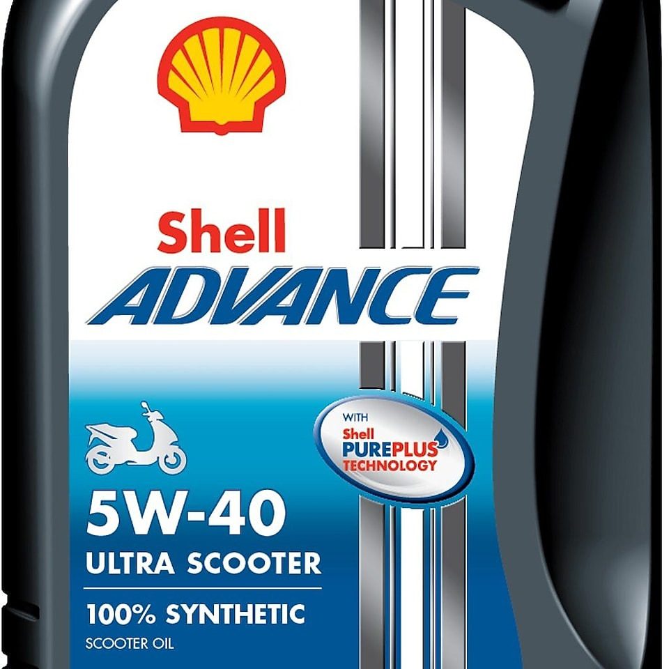 Image of Shell Advance 5W 40, Pureplus Technology, 4T, 100% synthetic Scooter oil container