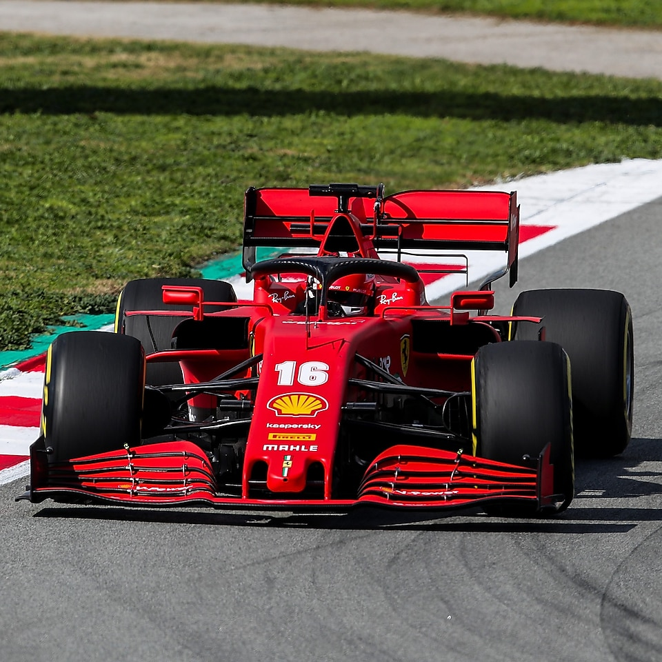Image of a F1 Ferrari car on a race track