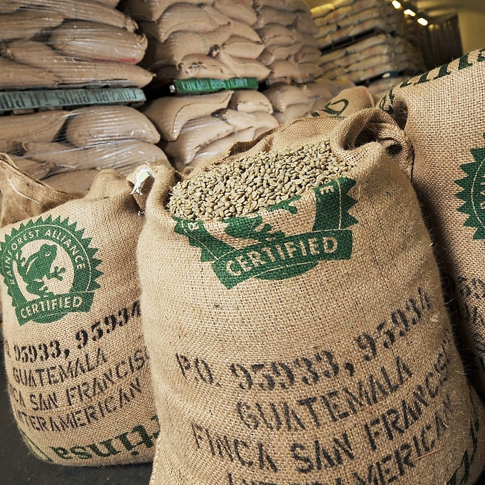 Image of coffee beans in sacks