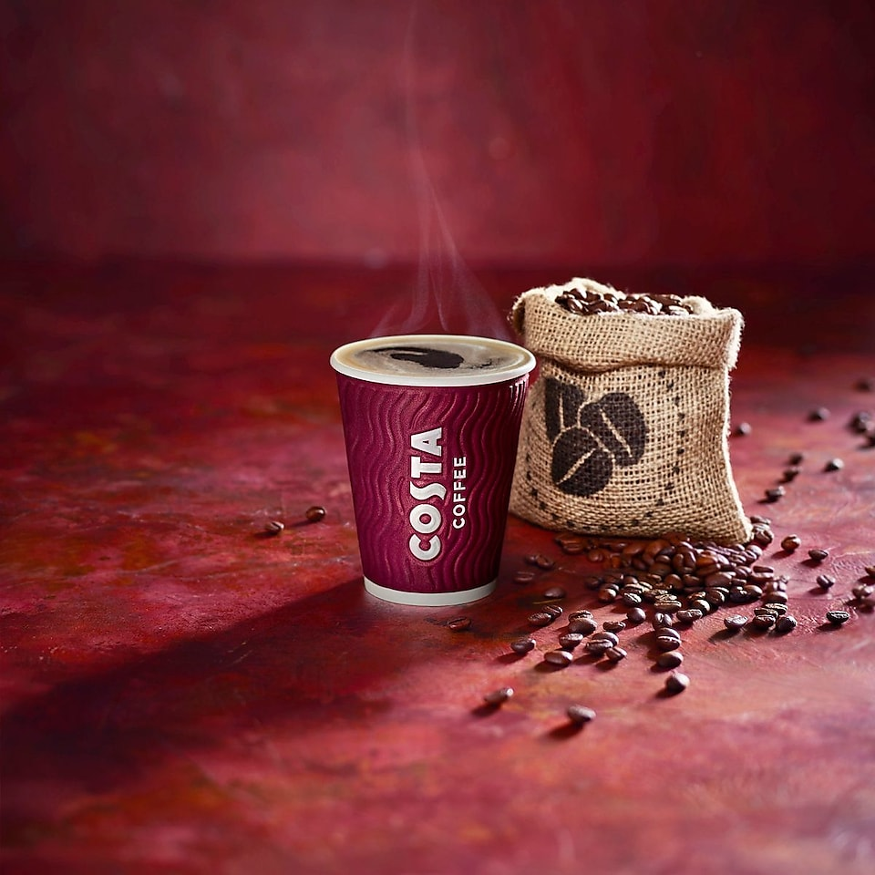 Image of a Costa Express Coffee cup and copy saying Real Milk, Real Beans , Real Quick